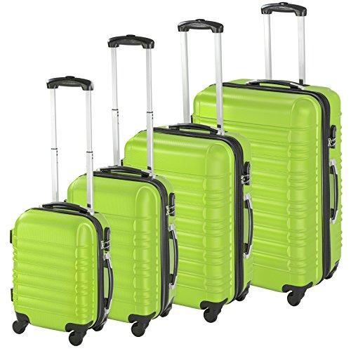tectake 800317 Conjunto de 4 Maletas ABS, Set de 4 Piezas, Trolley de Viaje, Carcasa Rígida, Ruedas con Giro de 360 (Verde | No. 402028)