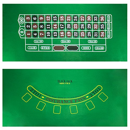 Brybelly Blackjack and Roulette Table Felt - Green Double-Sided Casino Tablecloth - Tabletop Layout Gaming Mat - Card Game Accessories