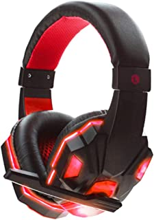 Headphones,pc headphones - 3.5mm Earphone Gaming Headset Gamer Stereo Gaming Headphone with Microphone LED Black and red