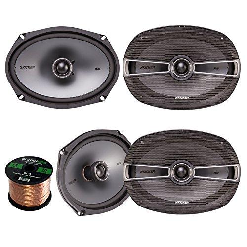 Car Stereo Speaker Set Bundle Combo with 4X Kicker 41KSC694 6x9 inch 200W 2-Way Stereo Speakers + Enrock 50 Foot 16 Gauge Speaker Wire