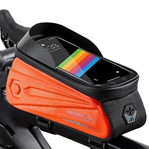 Bolsa de bicicleta delantera para bicicleta, bolsa de bicicleta EVA duricrust Front beam bag con pantalla táctil, bolsa de tubo en teléfono móvil bicicleta de montaña Equipo de equitación (verde)