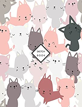 Sketchbook  Cute cats on white cover  8.5 x 11  inches 110 pages Blank Unlined Paper for Sketching Drawing  Whiting  Journaling & Doodling  Cute cats on white sketchbook   Volume 4
