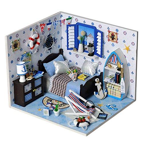 Oshide Puppenhaus Dollhouse DIY Kit Geschenk Mit Abdeckung/LED Licht/Musik (Naval Style Zimmer)