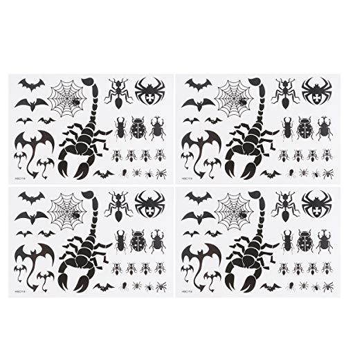 TOYMYTOY 4 stücke Skorpion Fledermäuse Spinne Temporäre Tattoos Wasserdicht Körper Kunst Aufkleber Party Favors für Jungen Mädchen