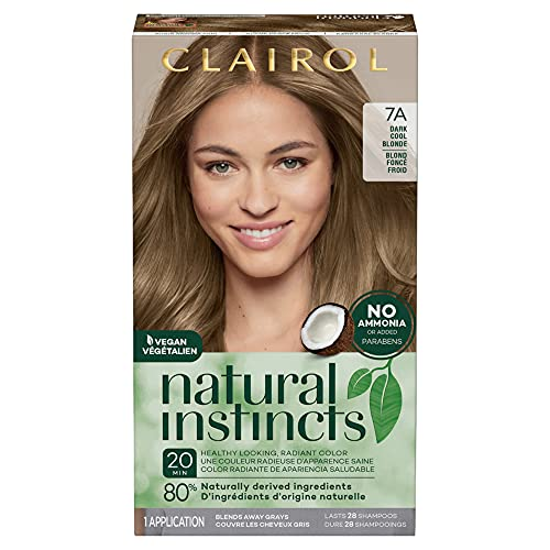 Clairol Natural Instincts Semi-Permanent Hair Dye, 7A Dark Cool Blonde Hair Color, 1 Count