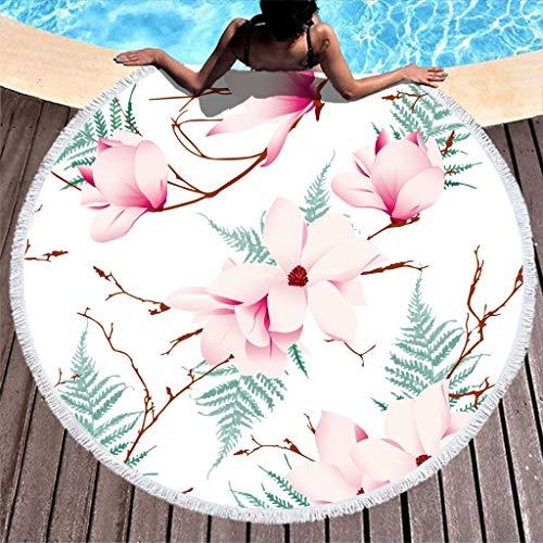 Gamoii Runder Strandtuch Badetuch Rosa Blumen Baum Zweig Picknickdecken Strandmatte Frottee Badetuch Extra Groß Saunatücher mit Fransen für Kinder Damen Pool Strand White 150cm