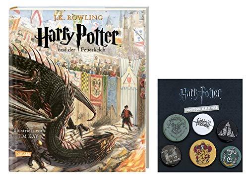 SCHMUCKAUSGABE: Harry Potter und der Feuerkelch - Band 4 (vierfarbig illustrierte Schmuckausgabe) + 1. Original Harry Potter Button