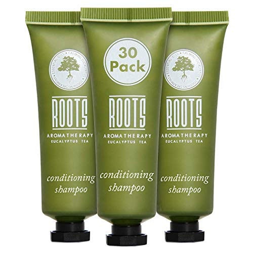 ROOTS AROMATHERAPY 1floz/30mL Conditioning Shampoo Travel Size Hotel Bulk Pack (Eucalyptus Tea fragrance) Toiletries for Bathroom, Guests, Hotels, Motels, and Lodging (30 pack)