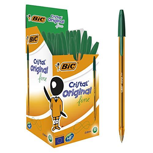 BIC Cristal Original Fine - Bolígrafos punta fina (0.8 mm) Caja de 50 unidades, Color Verde (872729)