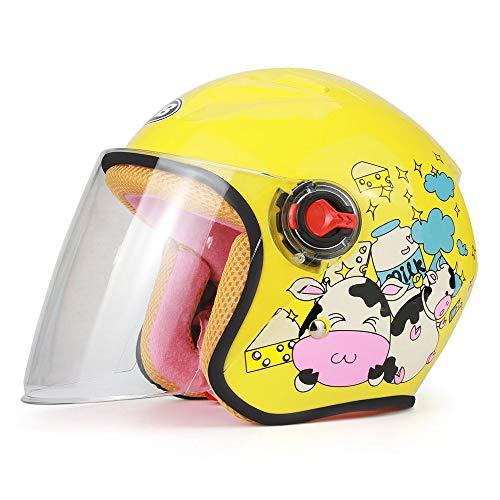 YAJAN-helm jethelm motorhelm, motorhelm voor kinderen, CE-certificering voor mannen en vrouwen, voor baby's, motorfiets, scooter, open jethelm, geschikt voor 46-52 cm