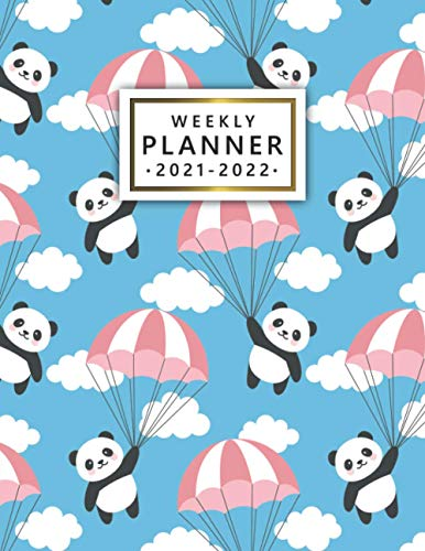 2021-2022 Weekly Planner: Sweet Flying Panda Organizer with Vision Boards, To Do Lists, Notes, Holidays | Two Year Calendar, Agenda, Diary | Pretty Cloudy Sky Print
