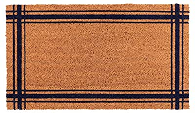 New KAF Home Coir Doormat with Heavy-Duty, Weather Resistant, Non-Slip PVC Backing | 17 by 30 Inches, 0.6 Inch Pile Height | Perfect for Indoor and Outdoor Use (Blue Lyon Stripe)