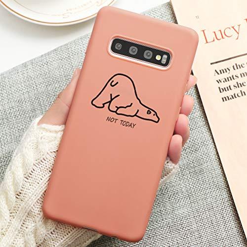 Pnakqil Cover Samsung Galaxy S10 Plus,Ultrasottile Morbida Silicone Protettiva Custodia Colore Candy Arancia Impermeabile Antiurto Disegni San Valentino per Samsung Galaxy S10 Plus,Orso