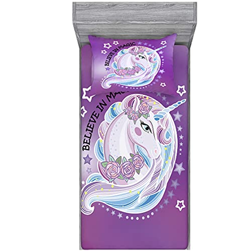 Home of Hailing Unicorn Fitted Sheet Purple Dream Unicorn Bed Sheet for Girls Twin Size Kids Rose Unicorn Flower 1 Fitted Sheet with 1 Pillowcase ,Dreamy Cartoon Unicorn Fitted Sheet Set