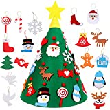 Xinlie Feltro Albero Natale Albero di Natale per Bambini in Feltro da Parete Albero di Natale Verde Albero di Natale in Feltro Fai-da-Te per la Decorazione della Parete del Portello dei Bambini
