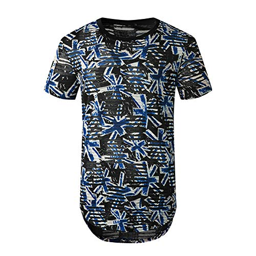 Mr.BaoLong&Miss.GO Nuova Maglietta da Uomo Estiva da Uomo Magro di Grandi Dimensioni Pullover Strappato Maglietta Hip-Hop Casual Giovanile A Maniche Corte
