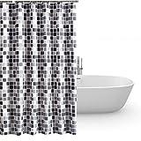 HuaForCity Duschvorhang aus Stoff wasserdichter waschbarer Textil Anti-Schimmel Digitaldruck inkl. 12 Duschvorhangringe für Badezimmer (240 x 200cm, Mosaik)