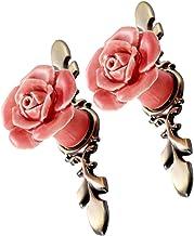 CLISPEED 2 stuks keramische kast roos bloem commode laden knoppen kast lade trekken handgrepen kast knoppen meubels knoppen