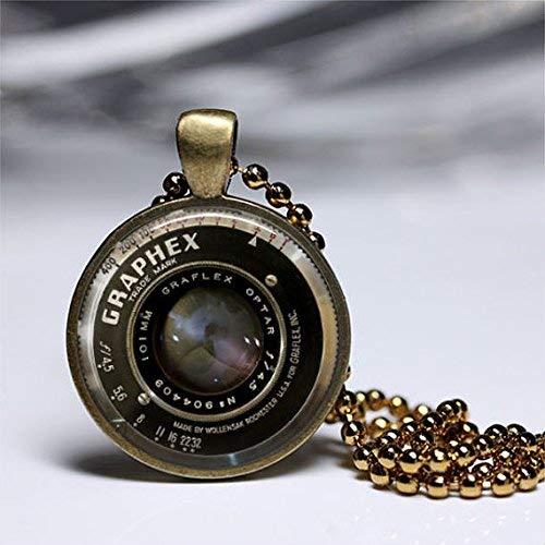 Joyería para lentes de cámara, collares con dije de lente de cámara, colgante de arte vintage, colgante de latón redondo de cristal, joyería de arte fotográfico, collar de cristal.
