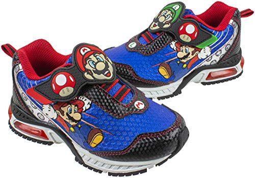 SUPER MARIO Brothers Mario and Luigi Kids Tennis Shoe, Light Up Sneaker, Mix Match Runner Trainer, Kids Size 11 to 3 (10 M US Little Kid, Blue)