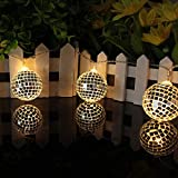 LED Mirror Ball Light String Garden Disco Bar Ballroom Stage Lantern for Festival Christmas Thanksgiving Decoration (Warm White)