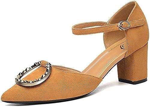 Jqdyl Talons Hauts Chaussures Pointues Femmes épaisses avec des Chaussures d'été Nouvelles Femmes Boucle Haute Talons