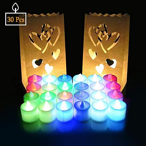 Natale Capodanno Candele LED Lumini 30 Pz, SPECOOL Candele LED a lume di candela con candelabri Candele senza fiamma a batteria al lumino