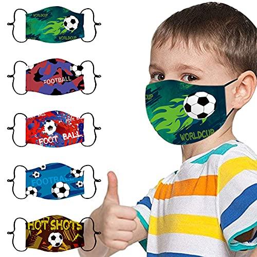 Lomelomme 5-Stück Kinder Mundschutz mit Motiv Waschbar Multifunktionstuch Schmetterling Mask Atmungsaktiv Baumwolle Stoffmaske Halstuch Bandana Schals Jungen Mädchen
