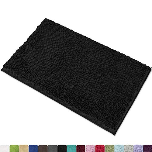 MAYSHINE Chenille Bath Mat for Bathroom Rugs 32' x20', Extra Soft and Absorbent Microfiber Shag Rug, Machine Wash Dry- Perfect Plush Carpet Mats for Tub, Shower, and Room- Black
