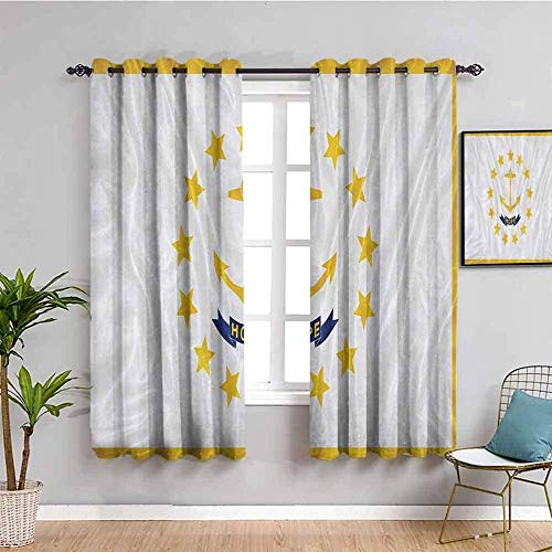 LucaSng Blackout Curtain Thermal Insulated - Yellow five-pointed star anchor art - 55x39 inch for Bedroom Kitchen Living Room Boy Girl Window - 3D Digital Printing Eyelet Ring Curtain