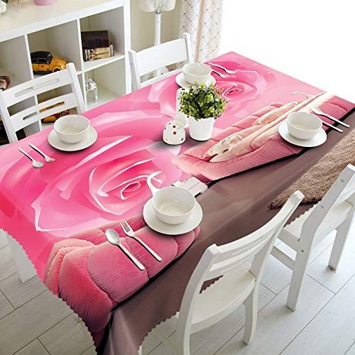XXDD 3D Erbsenblume Tischdecke lila Blume wasserdicht verdickt Rechteck für Küchentischdekoration Tischdecke A2 140x160cm