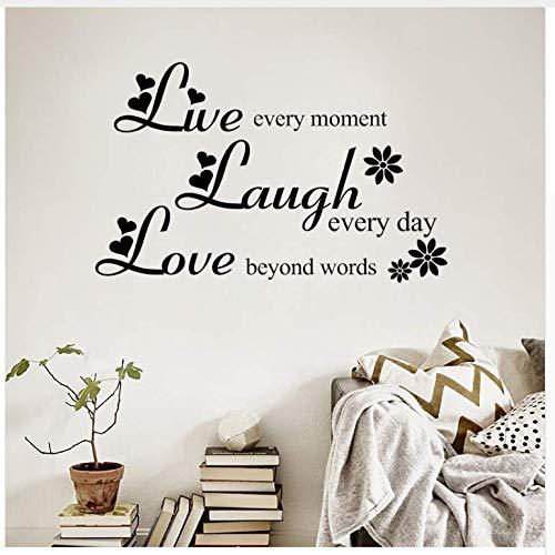 Ccfqiangtie Liebe Über Worte Lachen Jeden Tag Leben Jeden Moment Inspirierende Zitate Wandaufkleber Wohnzimmer Wohnkultur37 * 60Cm