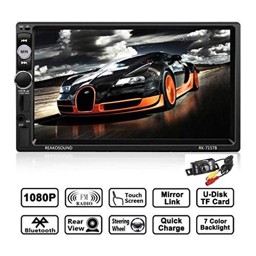 Double 2 DIN Car Radio HD 1080P ¨¦Cran Tactile Voiture St¨¦r¨¦o Bluetooth MP5, Boutons Color¨¦s en Option, Carte de 8 Go GPS Carte Incluse, Support USB/TF/FM Radio/Aux dans/Cam¨¦ra de recul