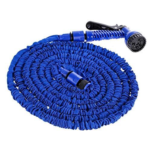 ZFF 25-200FT Hot Spenable Magic Flexible Garden Manguera de Agua para Manguera de Coches Tubería de plástico Jardín Jardín para regar con Pistola de pulverización (Color : Blue, Lengh : 25ft)