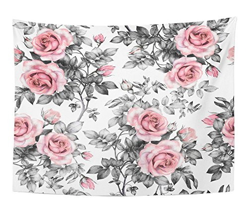 Emvency Tapestry Pink Flowers and Leaves on White Watercolor Floral Rose in Pastel Color Home Decor Wall Hanging 60' x 80' Inches Print for Living Room Bedroom Dorm
