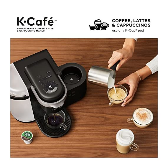 Keurig K-Cafe Coffee Maker, Single Serve K-Cup Pod Coffee, Latte and Cappuccino Maker, Comes with Dishwasher Safe Milk… 6 COFFEE, LATTES & CAPPUCCINOS: Use any K-Cup pod to brew coffee, or make delicious lattes and cappuccinos. SIMPLE BUTTON CONTROLS: Just insert any K-Cup pod and use the button controls to brew delicious coffee, or make hot or iced lattes and cappuccinos. LARGE 60oz WATER RESERVOIR: Allows you to brew 6 cups before having to refill, saving you time and simplifying your morning routine. Removable reservoir makes refilling easy.