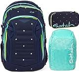 Satch Match Pretty Confetti 3er Set Schulrucksack, Schlamperbox & Regencape Mint