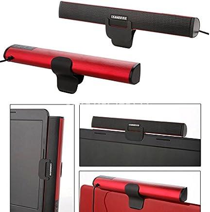 AKORD Portable Laptop/Computer/PC Speaker Subwoofer USB Soundbar Sound Bar Stick Music Player Speakers For Laptop PC Tablet (Red)