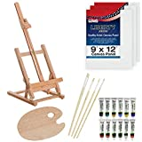 US Art Supply 21-Piece Wood Studio Table Easel & Paint Box Set with 12...