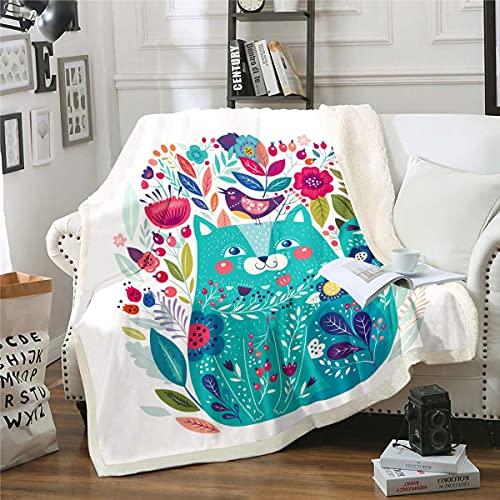 Loussiesd Manta de forro polar para niñas con diseño floral KLitten para cama, sofá, niños, naturaleza, pájaros, flores, manta de felpa, manta verde para dormitorio, 30 x 40 pulgadas