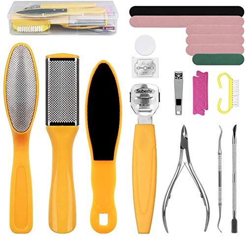 Foot File Pedicure Set 25 in 1 Pedicure kit Foot File Hard Skin Remover Foot Care Kit Professional Stainless Steel Heel Foot Scrub Cracked Rasp Care Tools for Men Women at Home Spa