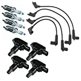 MCK Pack of 4 Ignition Coils + Double Iridium Spark Plug Wire Set Compatible with 2004-2011 Mazda RX-8 1.3L UF501