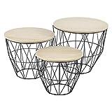 [en.casa] set da 3 tavolini a forma di cestello in 3 altezze diverse con piano rimovibile portaoggetti pratico multiuso per salotto/soggiorno
