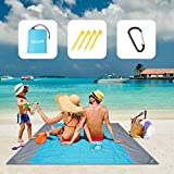 Yalixuan Picnic Blanket, Extra Large 210 x 200cm Beach Mat Waterproof Sandproof for 4-7 Adults,Beach Blanket with 4 Fixed Nails for Travel, Camping, Hiking,Beach,Picnic