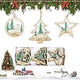 EKKONG 6 Stück Anhänger Holz Weihnachten, Weihnachtsanhänger Deko, Holz Weihnachtsdeko Anhänger, DIY Basteln Holzanhänger für Weihnachtsschmuck Weihnachtsanhänger Baum (Grün)