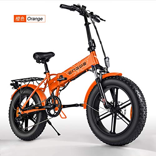 Belle House Orange 500W 20 inch Fat Tire Electric Bicycle Mountain Beach Snow Bike for Adults, Aluminum Electric Scooter 7 Speed Gear E-Bike with Removable 48V12.5A Lithium Battery