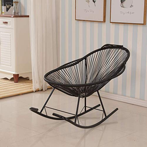 LJYY Garden Chair Rocking Chair Relaxing Chair Wicker Armchair, Chair Rocking Chair In Retro Design • Cover Made Of 4mm Mesh • Powder Coated Steel Frame