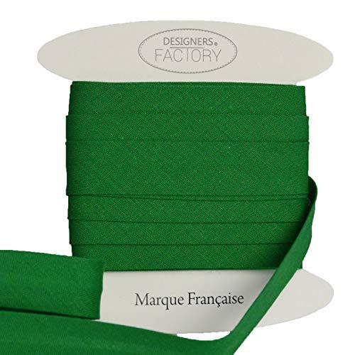 designers-factory Bella qualità di Cotone Tinta Unita sbieco - Nuova Versione più Ampia - Cotone Cucitura sbieco (di 5 Metri, Verde)