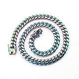 maozuzyy Collar Colgante Joyería Collar Popular Clásico Simple De La Cadena De Los Hombres Coloridos del Acero Inoxidable-Colorido 10Mm * 50Cm