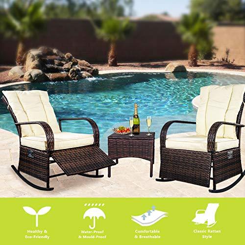 ENSTVER Set of 2 Indoor & Outdoor Reclining Chair-Porch Garden Lawn Deck Wicker Rocke Chair-Auto Adjustable Rattan Sofa w/Cushion (Beige-White Cushion)